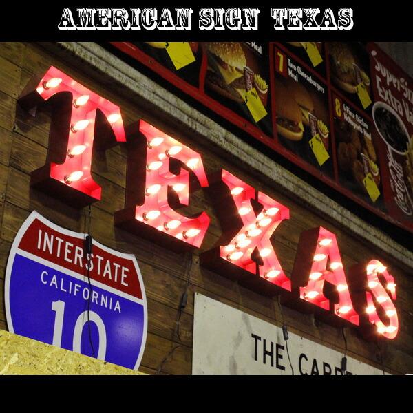 アメリカンサイン w/ライト 「TEXAS」(テキサス)