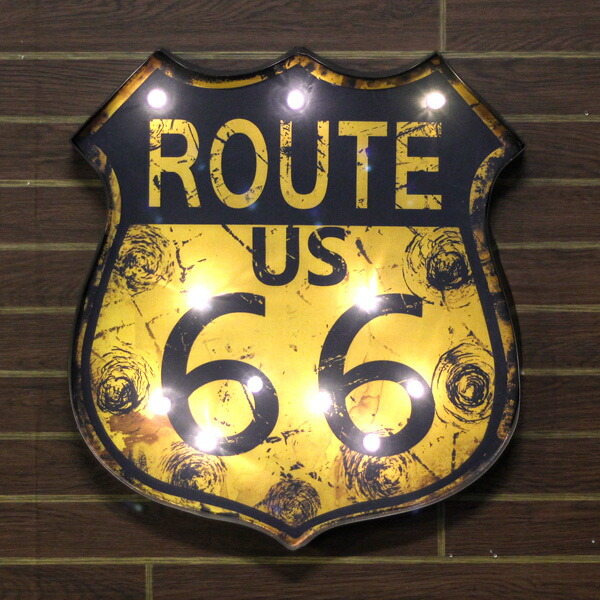 Route66 LEDウォールサイン<オレンジ>