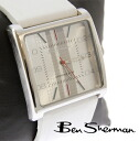 Ben Sherman Ben Sherman white face analog watch men's mod fashion genuine leather leather leather leather belt watch watches stainless steel White new UK MOD r811