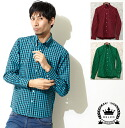 RELCO レルコ 3-color gingham check long sleeve shirt men's mod fashion Gingham Check long sleeve shirt Red Red Green Green Turquoise Turquoise long sleeve Long Sleeve Pocket UK モッズシャツ モッズファッション mshtgngm * s * m * l * xl