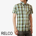 RELCO real co short sleeve shirt check men's new mod fashion Short Sleeve Check Shirt Mint Mint button-down cotton UK modsshats mods fashion mshteu44mint * s * m * l