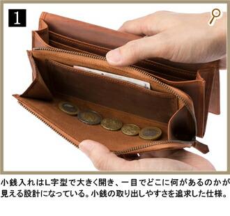 1.ガバッと開くと約10cmのマチで見やすく取り出しやすい。縦に入る12枚のカード段がスマート。