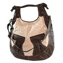 Betsy Johnson Eye Love Betsey beige X brown large handbag # 0061
