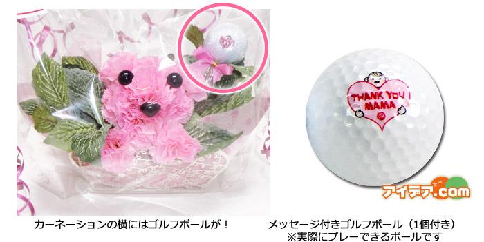 カーネーションの横にはゴルフボールが! メッセージ付きゴルフボール(1個付き)※実際にプレーできるボールです