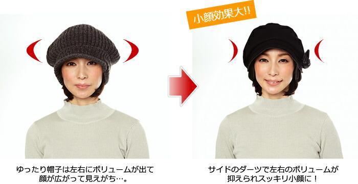 ゆったり帽子は左右にボリュームが出て顔が広がって見えがち…。 サイドのダーツで左右のボリュームが抑えられスッキリ小顔に!