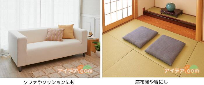 ソファやクッションにも座布団や畳にも