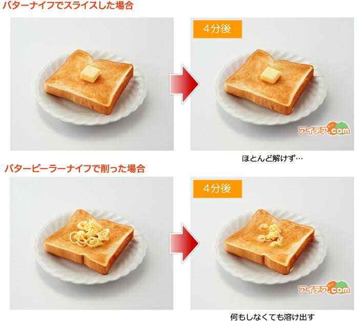 バターナイフでスライスした場合とバターナイフでスライスした場合のバターの溶け方を比較