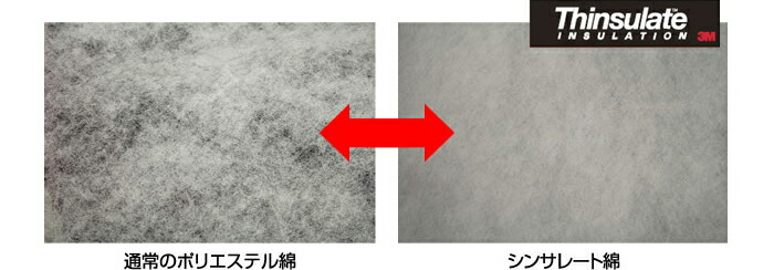 通常のポリエステル綿とシンサレート綿の比較