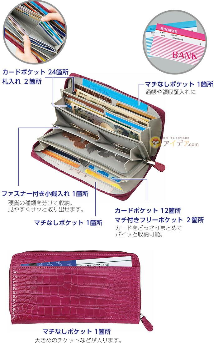 カードポケット36、ファスナー式小銭入れ1、札入れ2、マチ付フリーポケット2、マチなしポケット2、背面ポケット1