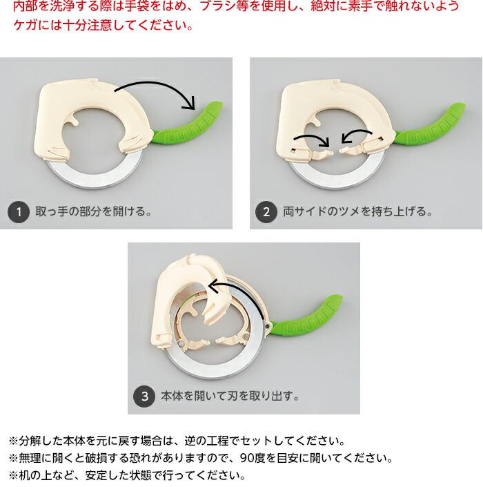 1.取っ手の部分を開ける。2.両サイドのツメを持ち上げる。3.本体を開いて刃を取り出す。