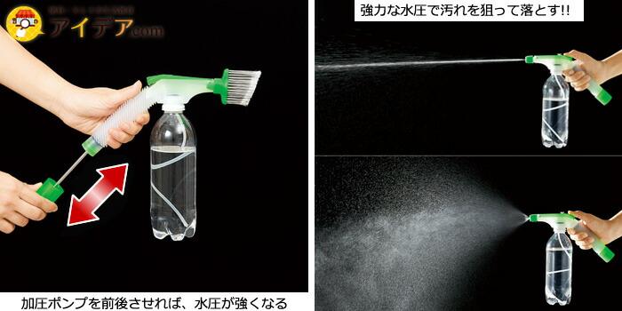 加圧ポンプを前後させれば、水圧が強くなる強力な水圧で汚れを狙って落とす!!