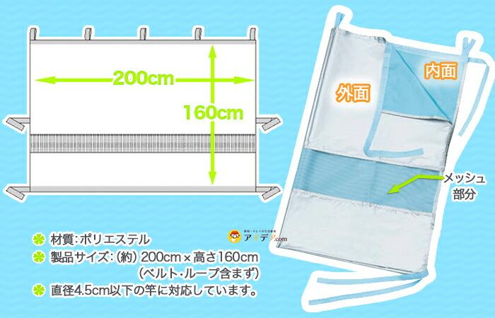 製品サイズ 幅:約200cm,高さ:160cm,ベルト,ループ含まず