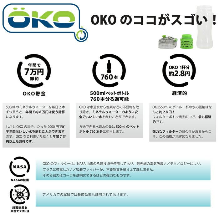 OKO(オコ)/フィルター付きボトル/550ml/浄水機能付き◆ウォーターボトル/フィルターボトル/ろ過機能付きボトル/浄水フィルター/水筒/ボトル/マイボトル/水道水/ろ過/直飲み/浄水/コーラ/透明