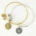 ALEX AND ANI アレックスアンドアニ initials plates recycled brass wire Bangle gold / silver-alex &ani