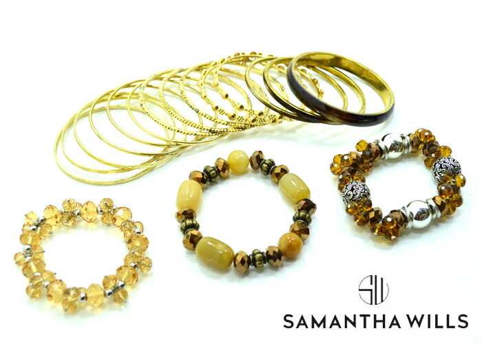 SAMANTHA WILLS サマンサ・ウィルス <br>レディス 17連バングル 保存BOX付き ブレスレット GOLD ビーズ
