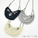 Product made in MARIONMILLE Marion mil Lady's knit X Swarovski X chain necklace France