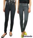 MISERICORDIA Misericordia ladies ZIP デザインストレッチスキニー pants grey / black (SS)