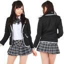 School jackets Ribbon 2 L (black and white) SUN219A-2L ■ cosplay costume costume cosplay costumes Kos sexy fancy dress AKB48 Idol costume Idol uniform stage costumes Idol COS pure Idol costume replica check LL size