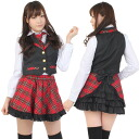 School shirt best skirt tie ribbon 3L black / red SUN222-3L ■ costume play clothes costume costume play clothes Koss sexy disguise AKB48 style idol clothes idol uniform stage clothes idol costume play idol dress idol costume replica check