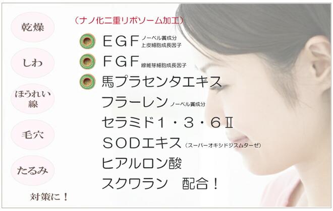 セラミドエッセンス EGF・FGF・馬プラセンタフラーレン・セラミド…配合