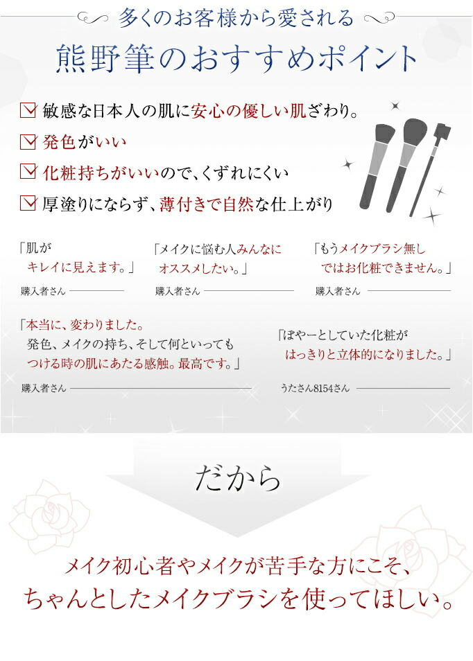 多くのお客様から愛される熊野筆のおすすめポイント