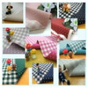 Cotton linen canvas ★ reversible ★ dot & check design (unit 50 cm)