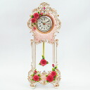 Bargain ロココローズ table clock with a pendulum