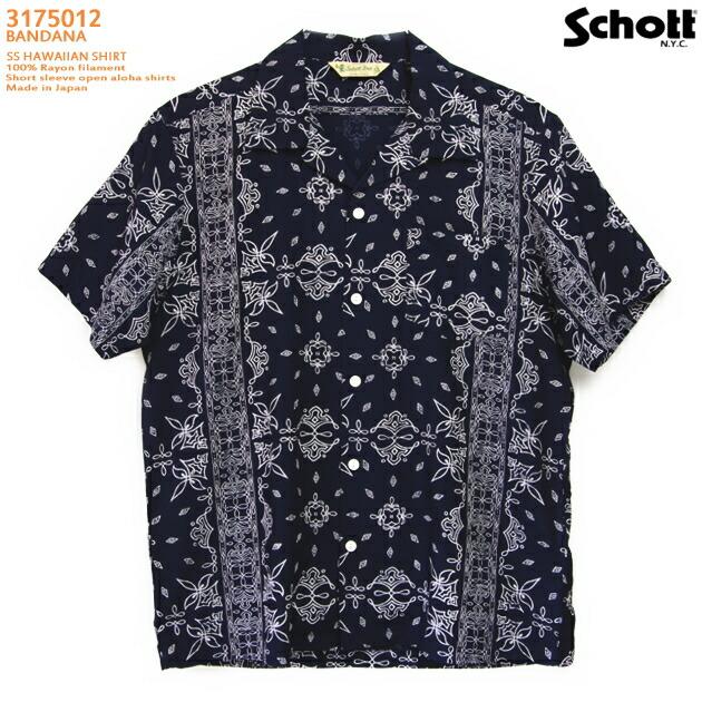 アロハシャツ|ショット(SCHOTT)SCH3175013|BANDANA(バンダナ)|ネイビー