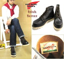 RED WING «Red Wing» Irish Setter Irish setter #RW-9874 6inch Moc Toe Boots 6 inch mock to boots tea core グッドイヤーウェルト made by law dog tags reprint Black-United States workshop