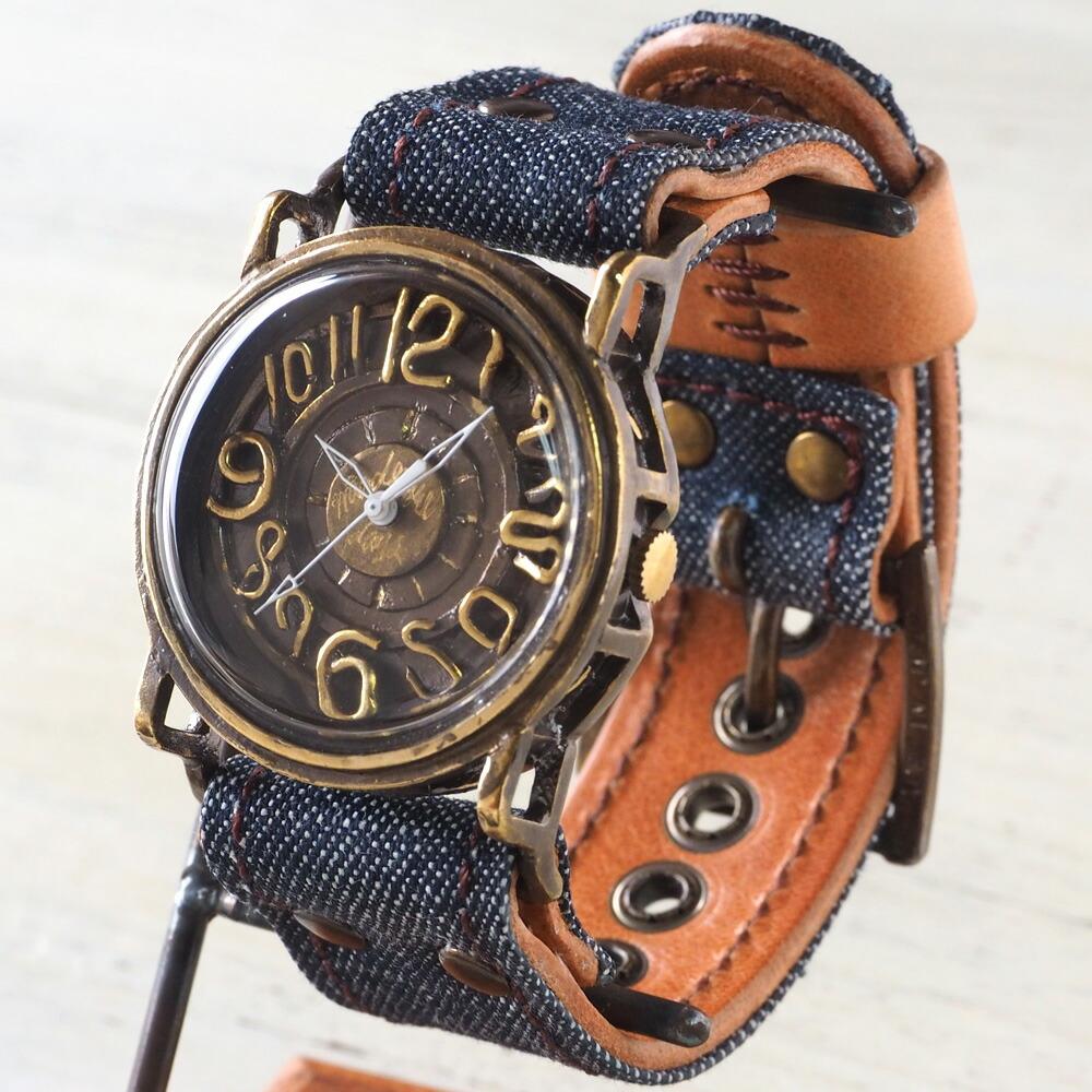 【当店限定モデル!】Mari Goto(マリゴトー) 手作り腕時計 〜J〜 クラフトカフェ限定 デニム×レザーコンビベルト [MG-007-CF]