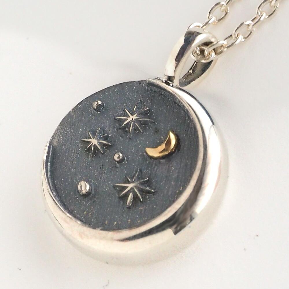 moge(モゲ) 手作りシルバーアクセサリー 星空のむこう —三日月の見える空— シルバーネックレス [mo-N-042]
