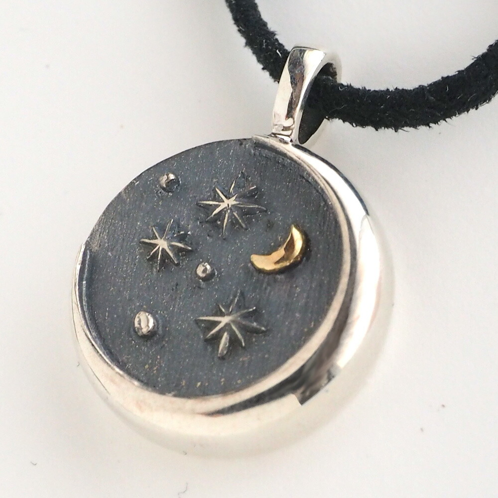 moge(モゲ) 手作りシルバーアクセサリー 星空のむこう —三日月の見える空— 革紐ネックレス [mo-N-042H]