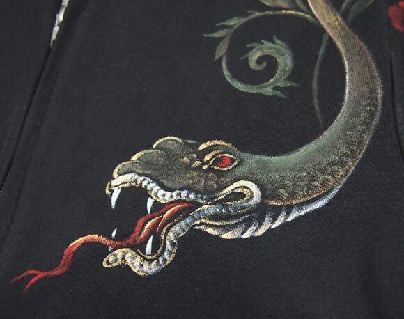 """zen (禅) 京友禅手绘帕克""""蛇花纹""""[kpk017]"""