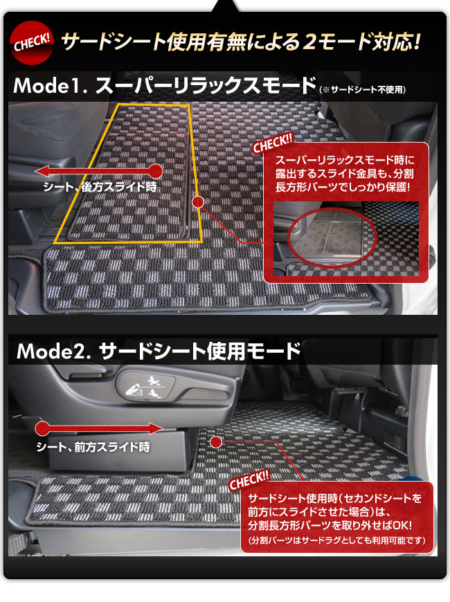 サードシート使用有無による2モード対応