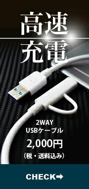 高速充電 2WAY USBケーブル