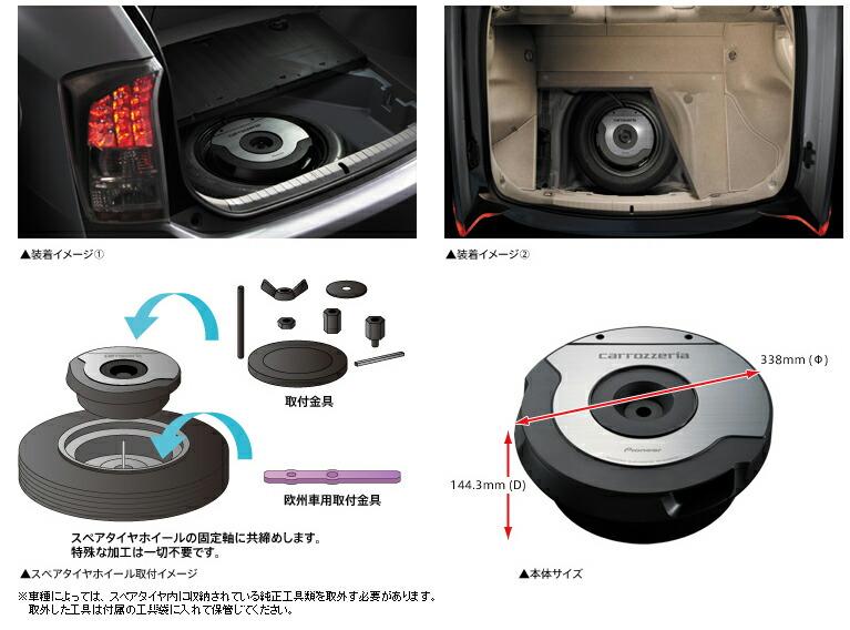-是 Carrozzeria ,TS-WX 610 A. -易於安裝在普銳斯到各種型號的可用的備用輪胎車輪。通過小直徑揚聲器低到許多歐洲汽車伴隨安裝支架適應歐洲車往往缺乏空間。 -通過鋁平面膜片低音部分是 10 釐米。除了大型磁電路或 6 層優化的雙語音與線圈、 邊緣和阻尼器組合。重低音和振動準確忠實的再生產。 -提供了重低音播放由低音單元配兩個低音反射和帶通類型旨在有效頻率聲壓和現實主義。此外出不需要單位取消放在備用的共鳴,高品質重低音再生產甚至意識到在同一時間。 -配備放大器 MO