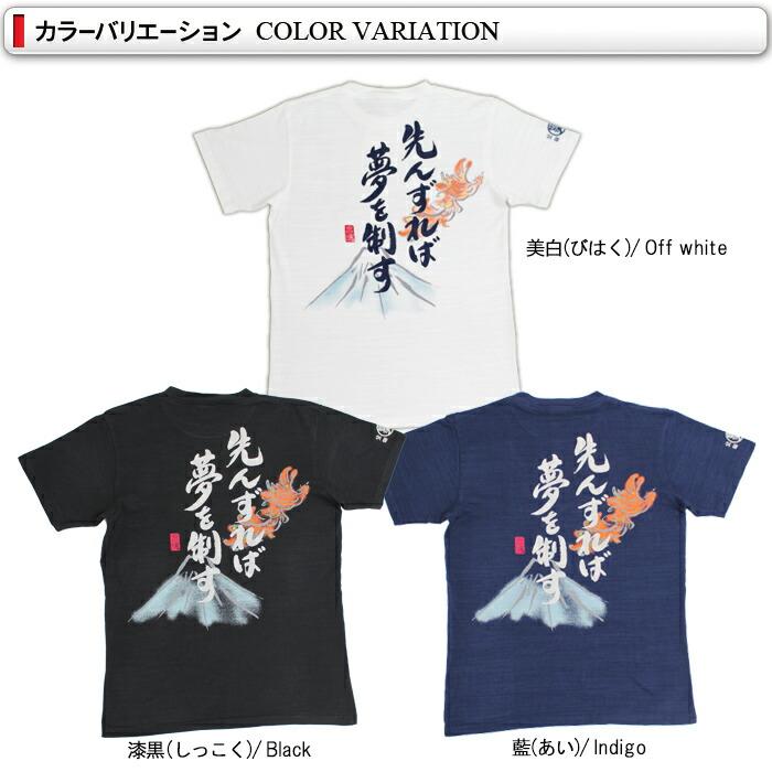 豊天商店 言魂シリーズ 先んずれば夢を制す つむぎ天竺半袖Tシャツ  カラー