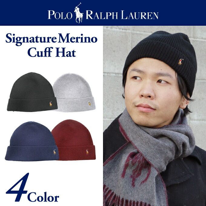 Polo Ralph Lauren Polo Ralph Lauren KNIT CUFF knit Cap Signature Merino Cuff Hat Merino Wool commuter school men presents father businesman unisex men\u0026#39;s ...