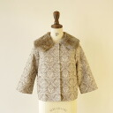 cotton tweed jacket with rabbit fur haupia haupia, jkfw332-02 (M)
