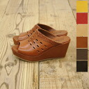 gosh ゴッシュ mary/ leather opening toe wedge sole sabot sandals .5323000203 (all six colors)