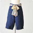 deep blue deep blue scarf belt one wash denim ハーフサルエル pants-72038 col.1 (SS, S, M, L)