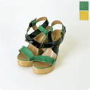 espadrille by gaimo エスパドリーユバイガイモ basia and enamel cross strap wedge Sandals (2 colors)