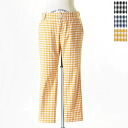 Crouka clock gingham ストレッチクロップド pants crk-03 (3 colors) (S, M, L)