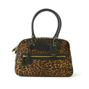 12 / 8 up to 9:59! J & M DAVIDSON Jay and emdevidson VIVI/PRINTED HAIR-ON WITH CALF TRIMMING Leopard Boston bag-852