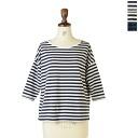 PRIT pret 30 / 1 リサイクルムラ yarn tenjiku border 3 / 4 スリーブルーズ T shirt-91458 (3 colors) (M-L)