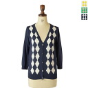 All three colors of mao made ramie maid Pima cotton argyle V neck cardigan, 411110a( )(M)