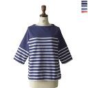 ORCIVAL or Sibal / orch ball RACHEL / 3 / 4 sleeve border wide Bush shirt-6812 (2 colors) (free)