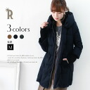 Praise collar and sleeve rib cotton MIX down feather coat (352-34735)