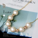 No sugar Pearl & round stone Necklace (M-0152) ★ shipping * return exchange
