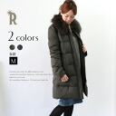 Raccoon fur with Cloche stretch long down coat collar, sleeves 2-WAY (452-84502)
